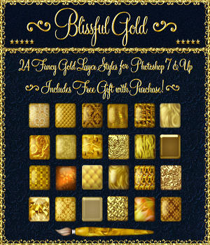Blissful Gold Layer Styles for Photoshop 7 & Above w/Free Gift 2D Graphics fractalartist01