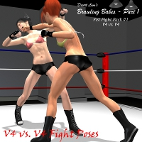 Battling Babes Part 1 - V4/V4 Edition 3D Figure Assets Desert_Lion