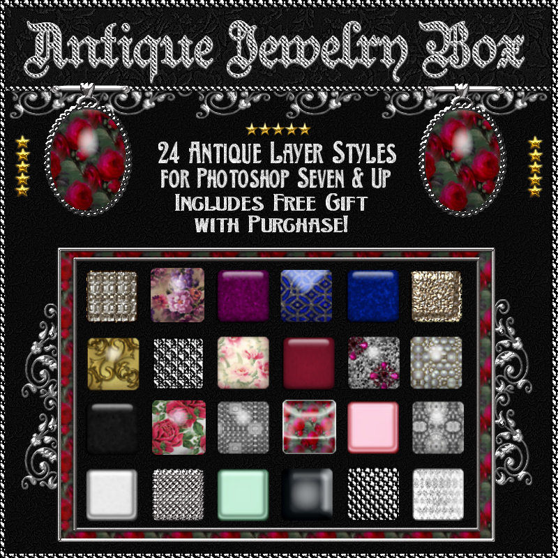 Antique Jewelry Box Photoshop Layer Styles w/Free Gift
