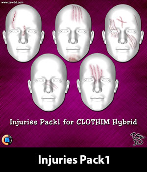 Injuries Pack1 for CLOTHIM Hybrid 3D Figure Assets zew3d