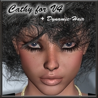 Cathy + Dynamic Hair for V4 3D Figure Assets kaiZ