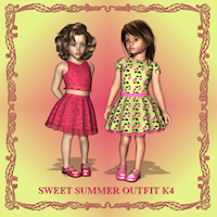 Sweet Summer Outfit for K4 Girl 3D Figure Essentials Porthos