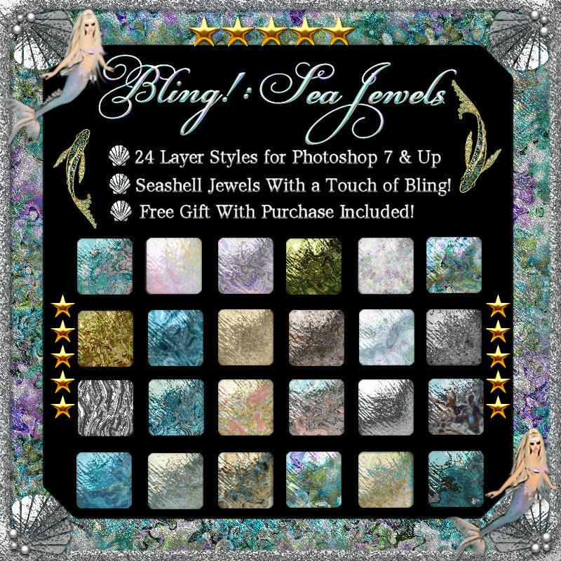 Bling! Sea Jewels Styles w/Free Gift for Photoshop 7 & Up