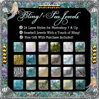 Bling! Sea Jewels Styles w/Free Gift for Photoshop 7 & Up 2D 3D Models fractalartist01