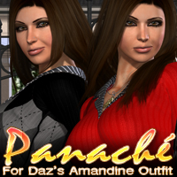 Panache for Daz's Amandine Outfit 3D Figure Essentials 3D Models fratast