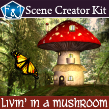 Livin' In A Mushroom 3D Figure Assets 3D Models 3D Software : Poser : Daz Studio EmmaAndJordi