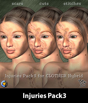 Injuries Pack3 for CLOTHER Hybrid 3D Figure Essentials zew3d