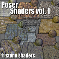 Poser Shaders Vol.1 Stones 3D Figure Assets 2D Graphics 3D Models LukeA