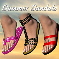 Summer Sandals 3D Figure Assets LMDesign