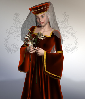 Praeclarusa 2 - The Burgundian Robe 3D Figure Assets Digital-Lion