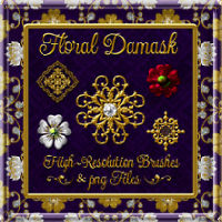 Floral Damask Brushes & PNG Files 2D And/Or Merchant Resources fractalartist01