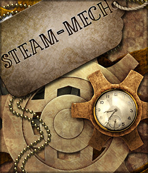 Steam-Mech: Backgrounds, Papers, Elements 2D Graphics Sveva