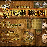 Steam-Mech: Backgrounds, Papers, Elements image 1