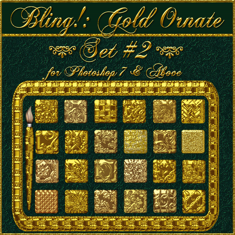 Bling! GOLD ORNATE Set02 Layer Styles w/Free Gift