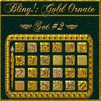 Bling! GOLD ORNATE Set02 Layer Styles w/Free Gift 2D 3D Models fractalartist01