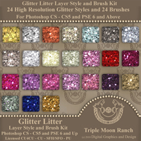 Glitter Litter Layer Style and Brush Kit for Photoshop and PSE 2D TMRDGAD