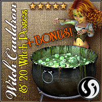 Mavka:Witch Cauldron and Poses 3D Models 3D Figure Assets CJ-studio
