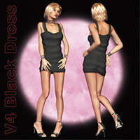 V4 Black Dress Ensemble 3D Figure Assets Richabri