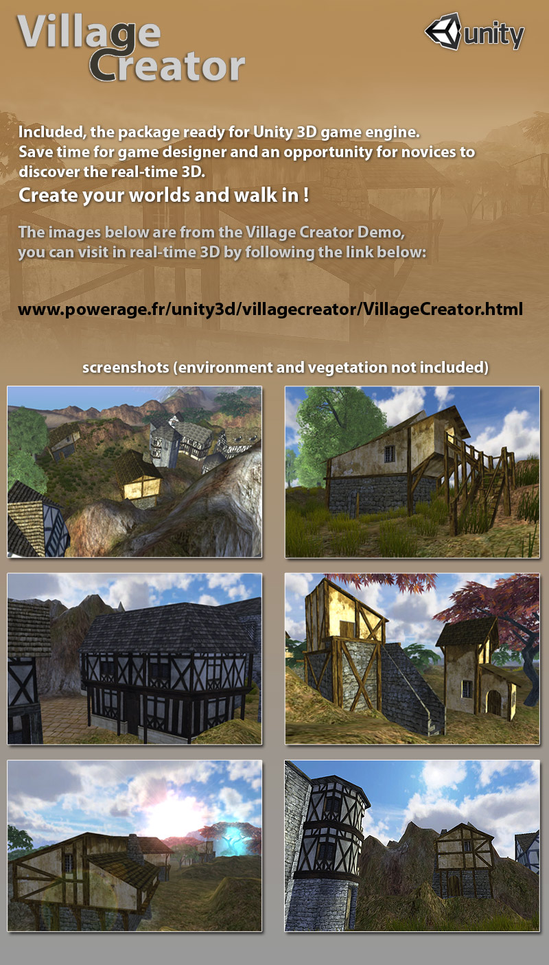 Village Creator for Poser & Unity3D 3D Models powerage