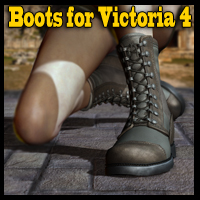 Slide3D Boots for V4 3D Figure Assets Slide3D