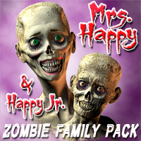 Zombie Family Pack-Add on for Mr Happy 3D Models 3D Figure Assets grotto