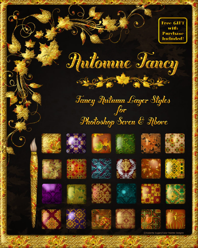 Automne Fancy Layer Styles w/ Free Gift for PS 7 & Up
