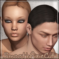 Smooth Pixie Cut Hair 3D Figure Assets outoftouch