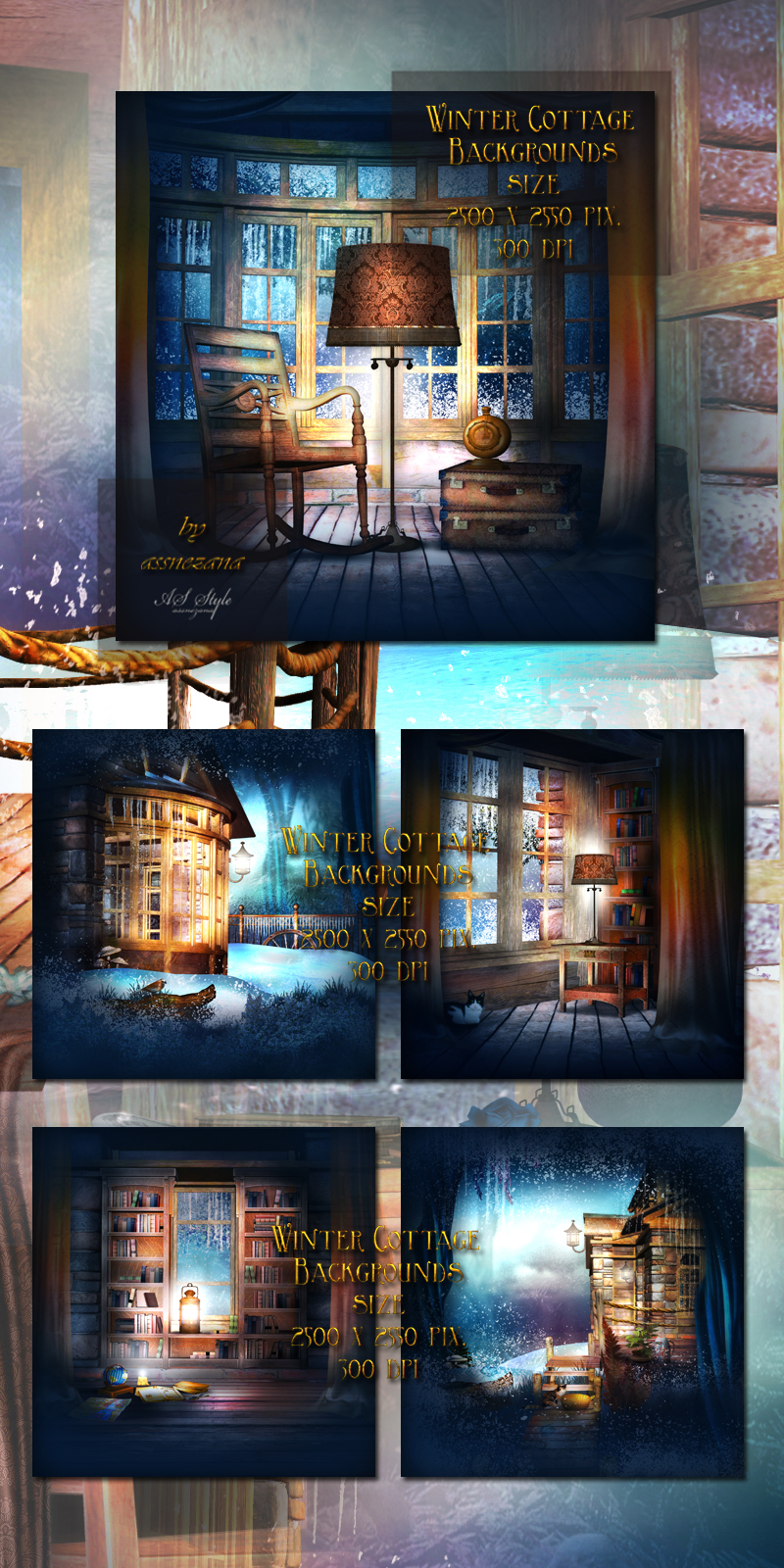 Winter Cottage Backgrounds