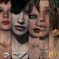 Jewels Pack 3 : Halloween & Gothic for V4 3D Models 3D Figure Essentials chasmata