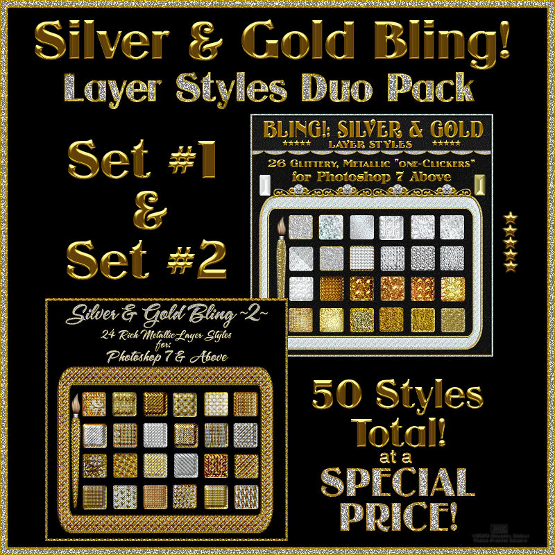 SILVER and GOLD BLING  Layer Styles DUO PACK