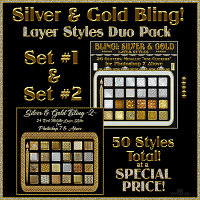 SILVER and GOLD BLING  Layer Styles DUO PACK Themed 2D And/Or Merchant Resources fractalartist01