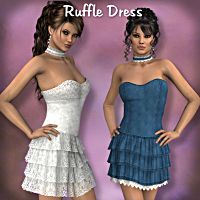 Ruffle Dress 3D Figure Assets LMDesign