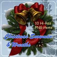 Christmas Snowman and Wreaths 2D Graphics 3D Models AdamantGrafix