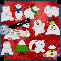 Appliques - Beary Christmas 3D Models 2D Graphics Valerian70