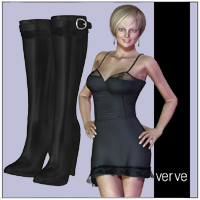 V4 Dress & Boots 3D Figure Assets VerveDesign