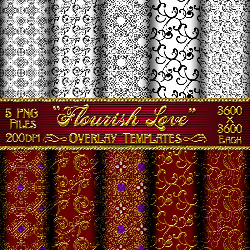 FLOURISH LOVE Seamless Transparent Overlays with Free Gift
