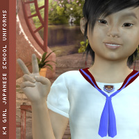 K4 Girls Japanese uniform 3D Figure Assets DigitalDreamsDS