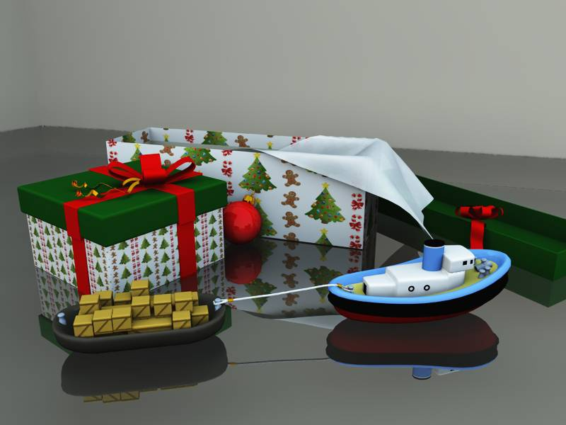 Christmas Toy Tugboat Set