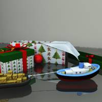 Christmas Toy Tugboat Set Themed Props/Scenes/Architecture forester
