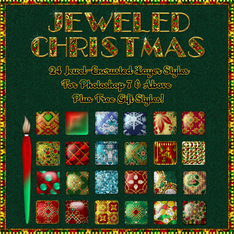 Jeweled Christmas Layer Styles w Free Gift