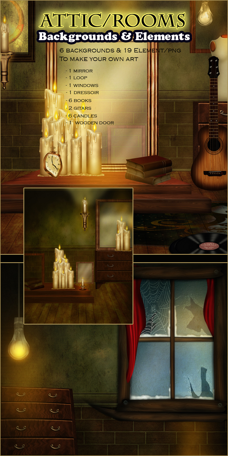 Attic-Rooms Backgrounds and Elements