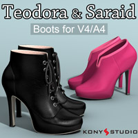 Teodora and Saraid Boots for V4 A4 3D Figure Assets kony