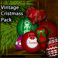 Vintage Christmas ornaments pack 2D LadyJ