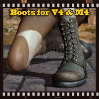 Slide3D Boots for V4 and M4 3D Figure Essentials Software Slide3D