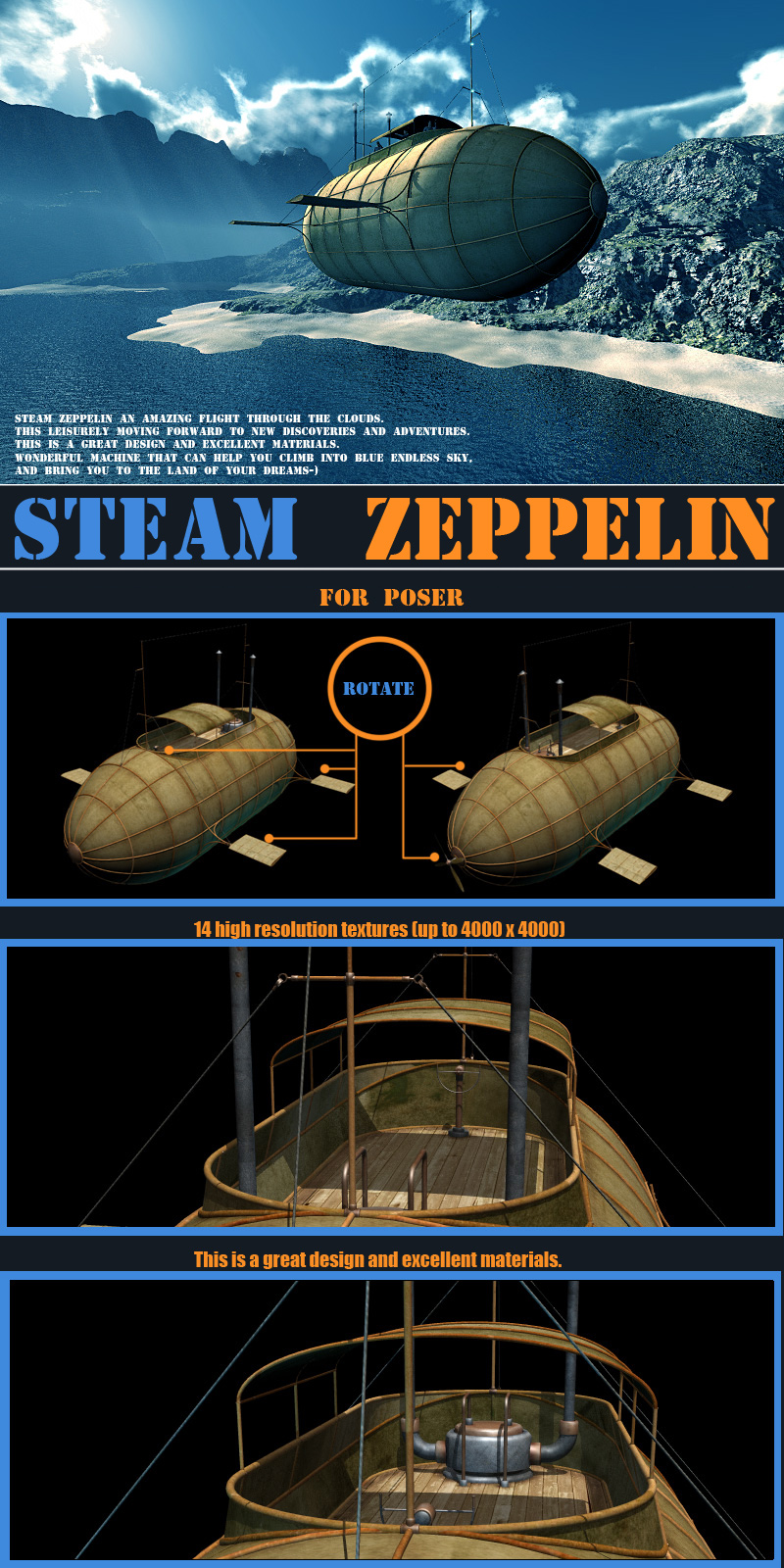 Steam Zeppelin for Poser