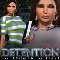 Detention for Cute School Girl 3D Figure Assets 3D Models fratast