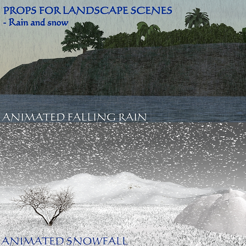 props for landscape scenes:rain and snow