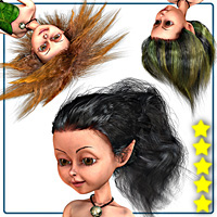 Elven Hair Kit for Mavka 3D Figure Assets smay