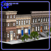Brownstone Street Scene 1 (for Poser) 3D Models VanishingPoint
