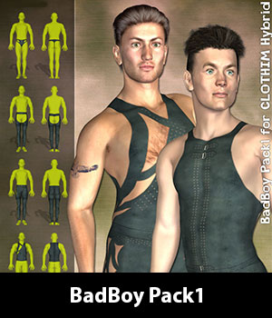 BadBoy Pack1 for CLOTHIM Hybrid 3D Figure Essentials zew3d